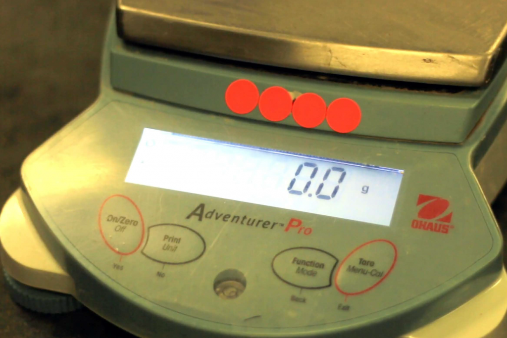 A weighing scale showing 0.0 gram