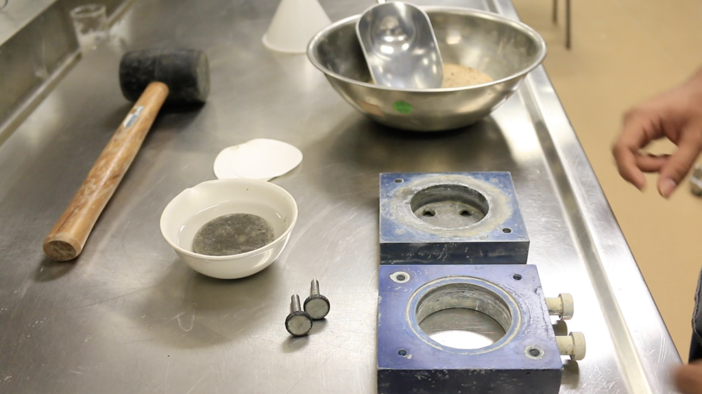 A picture showing the metal boxes needed for direct shear test