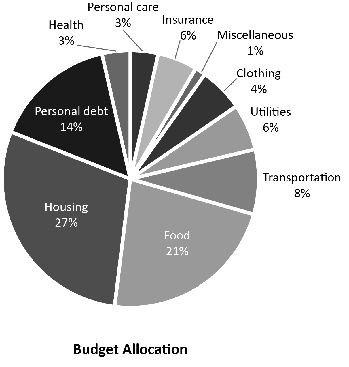 Budget Allocation pie chart among: Health, Personal Care, Insurance, Miscellaneous, Clothing, Utilities, Transportation, Food, Housing and Personal Debt