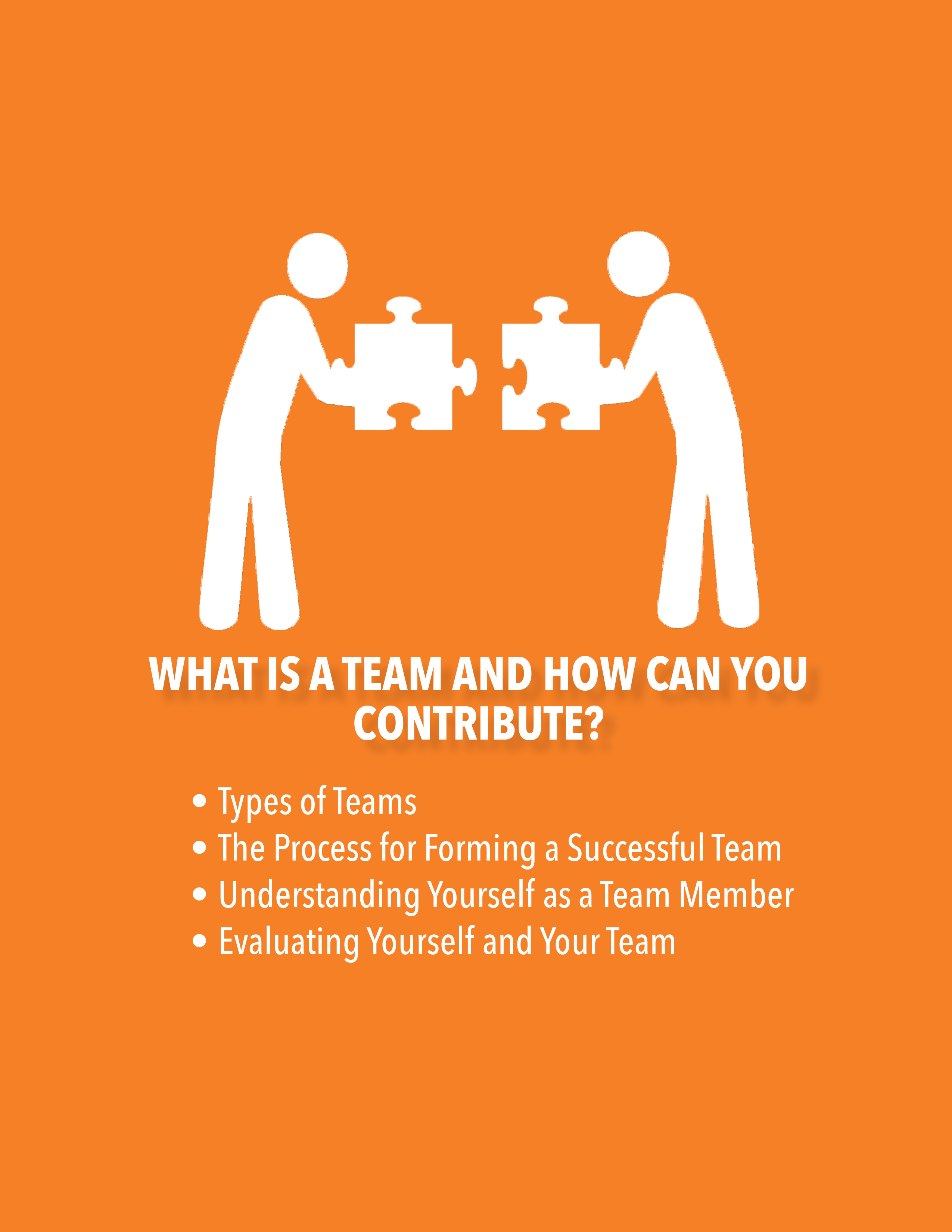 What is a Team and How Can You Contribute? Types of Team, The Process of Forming a Successful Team, Understanding Yourself as a Team Member, Evaluating Yourself and Your Team