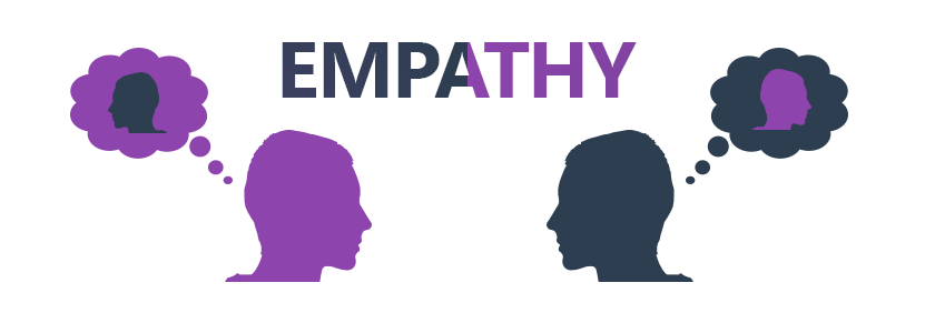 two people thinking about each other with the word empathy above