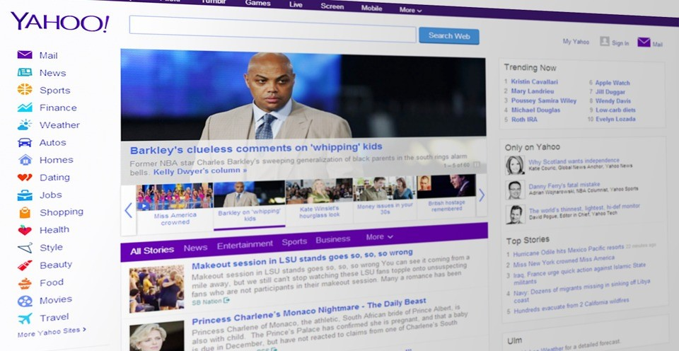 a screenshot of the yahoo! homepage showing news items