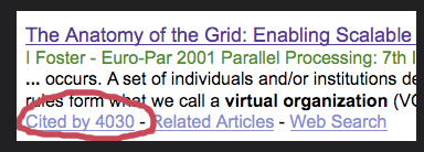 a google scholar search result with the cited by link circled in red ink