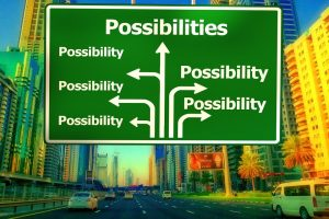 "a road sign with arrows pointing off into various directions with the word ""possibility"" written next to each one"