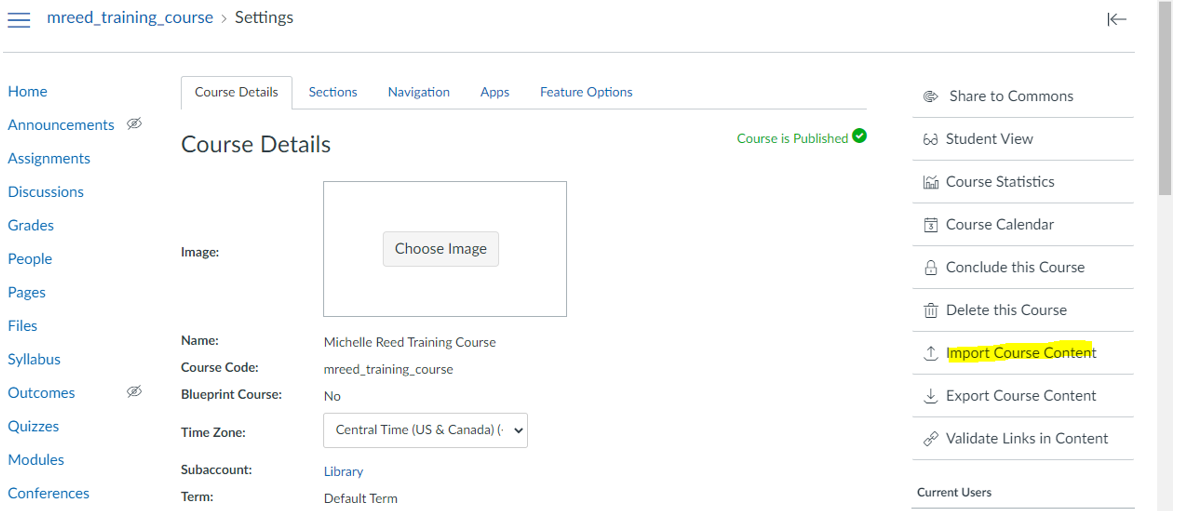 Importing Course Content