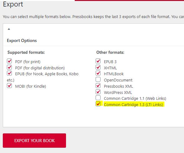 LTI Links export option