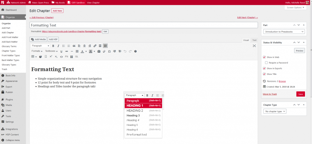 Pressbooks editor shows dashboard for organizing, editing, formatting, and adding new content to OER.