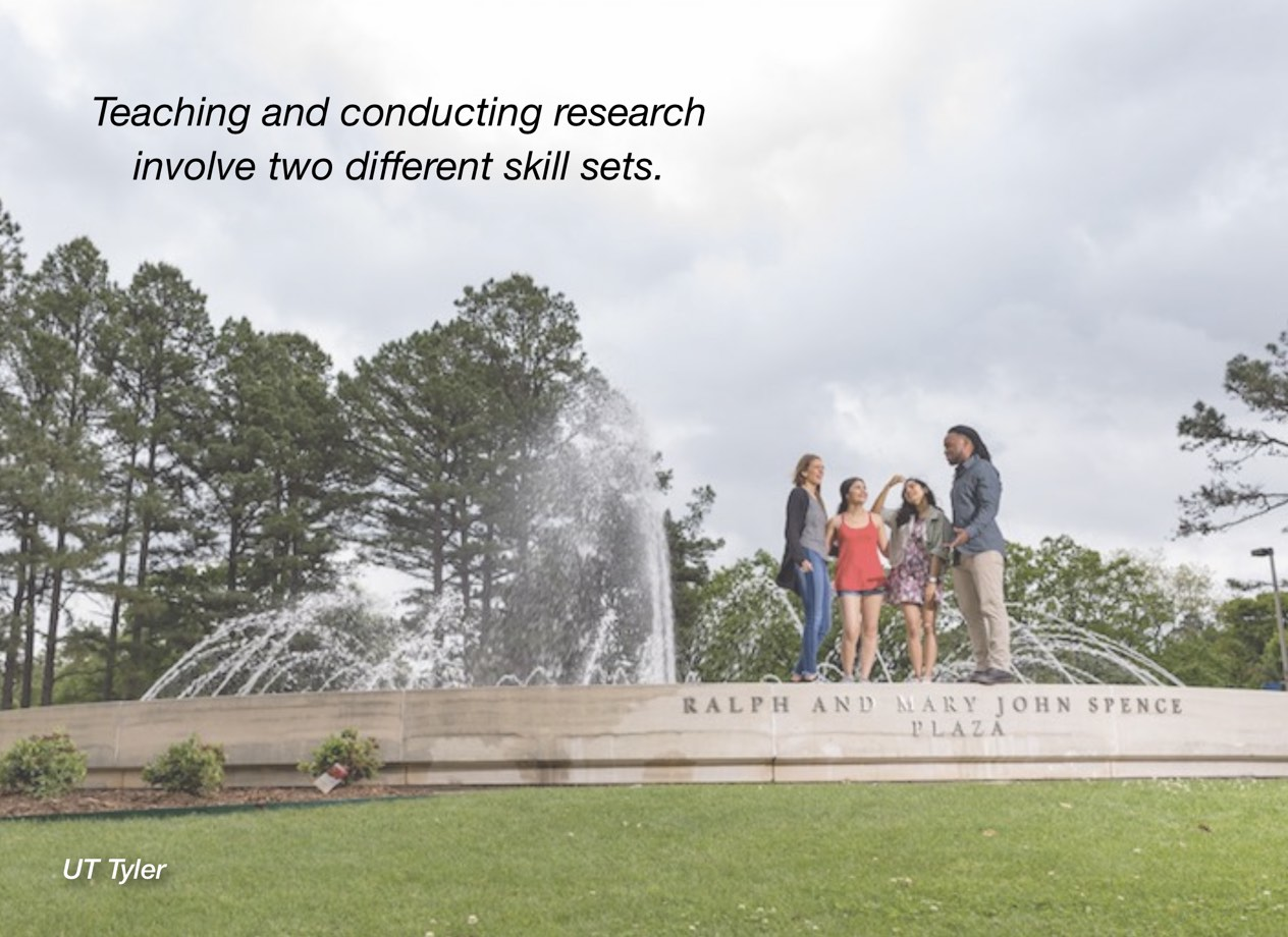 "A photo of UT Rio Grande Valley campus with overlayed text reading, ""Teaching and conducting research involve two different skill sets."""""