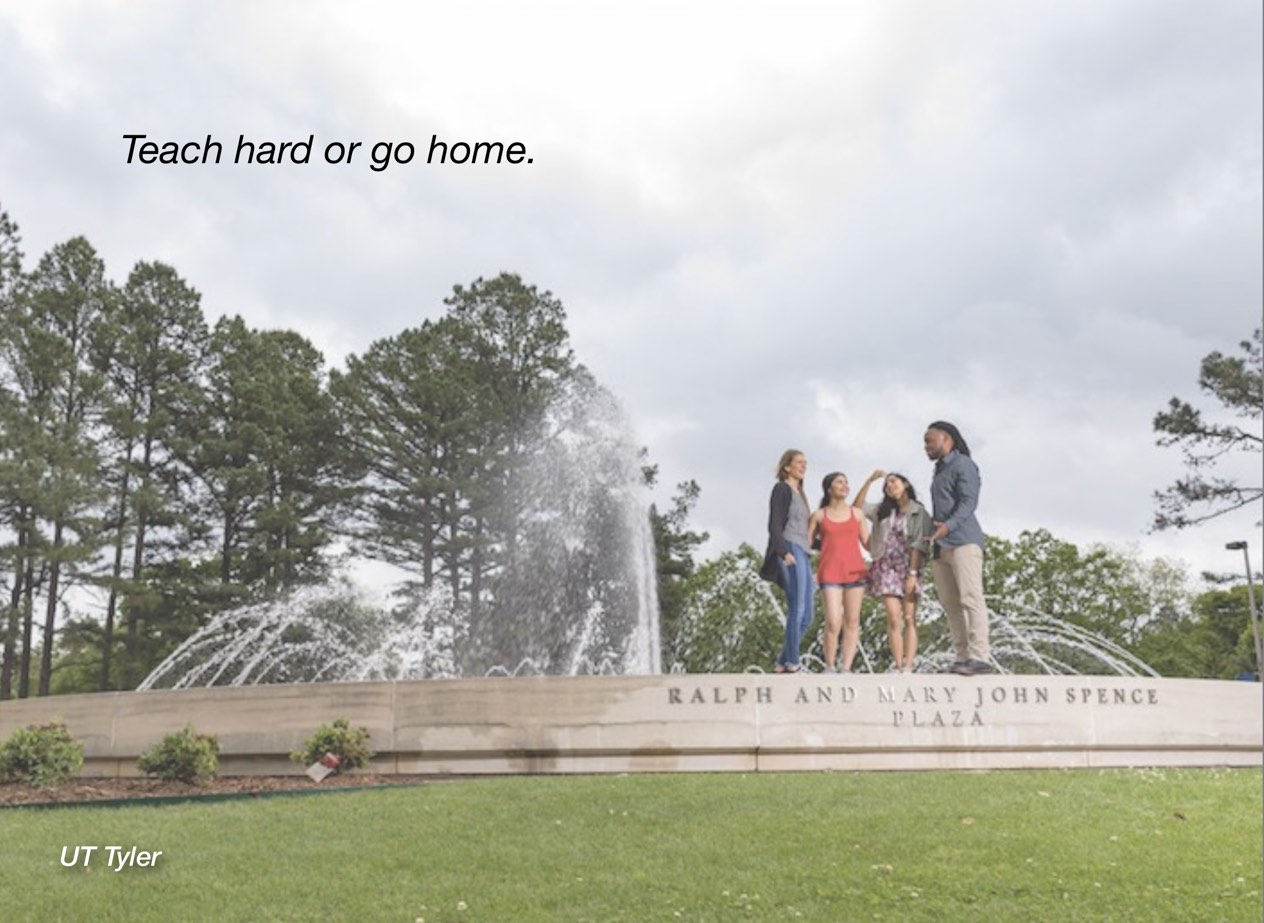 "A photo of UT Tyler campus with overlayed text reading, ""Teach hard or go home."""