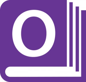 """A purple book icon with an """"O"""" on the cover"""