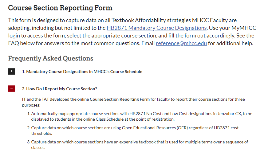 Course section reporting form for Mt Hood Community College. The form includes directions and a frequently asked questions feature.