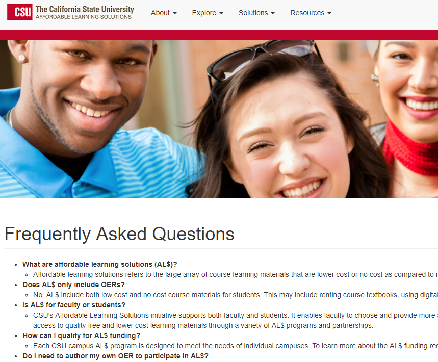 A screencap of the California State University website, with an FAQ for the affordable learning solutions initiative on campus.