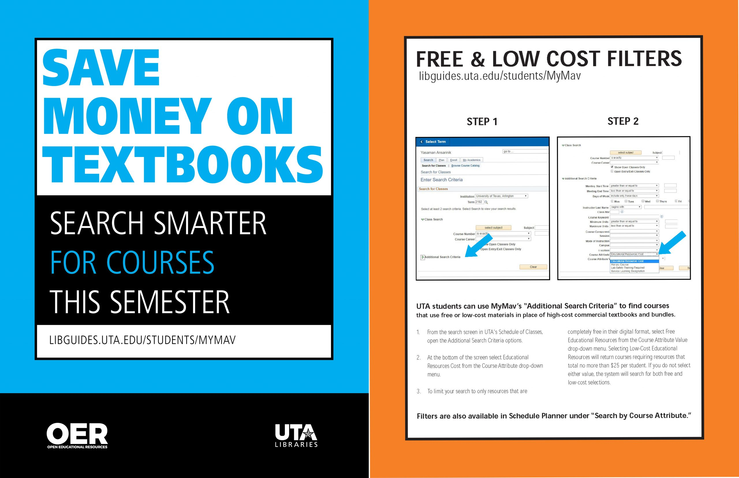 "Front and Back cover of a UTA flier which reads ""Save Money On Textbooks flier"" and guides on searching for Free & Low Cost Filters on MyMav"