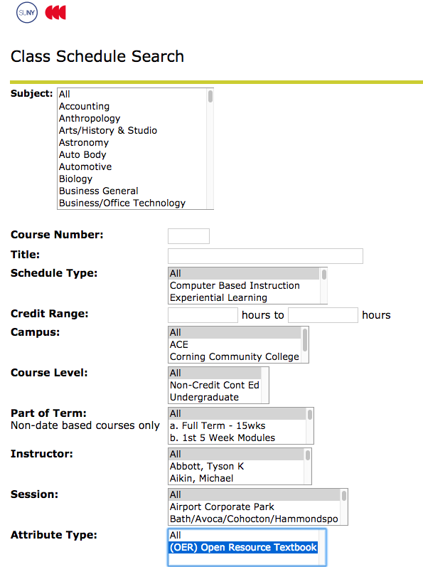 Screenshot of Corning Community College course schedule with OER highlighted