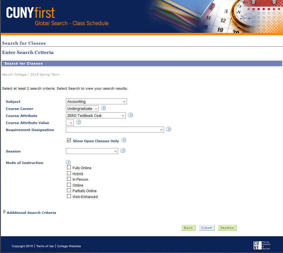 CUNYfirst Global Search, where students can limit their search to zero textbook cost courses