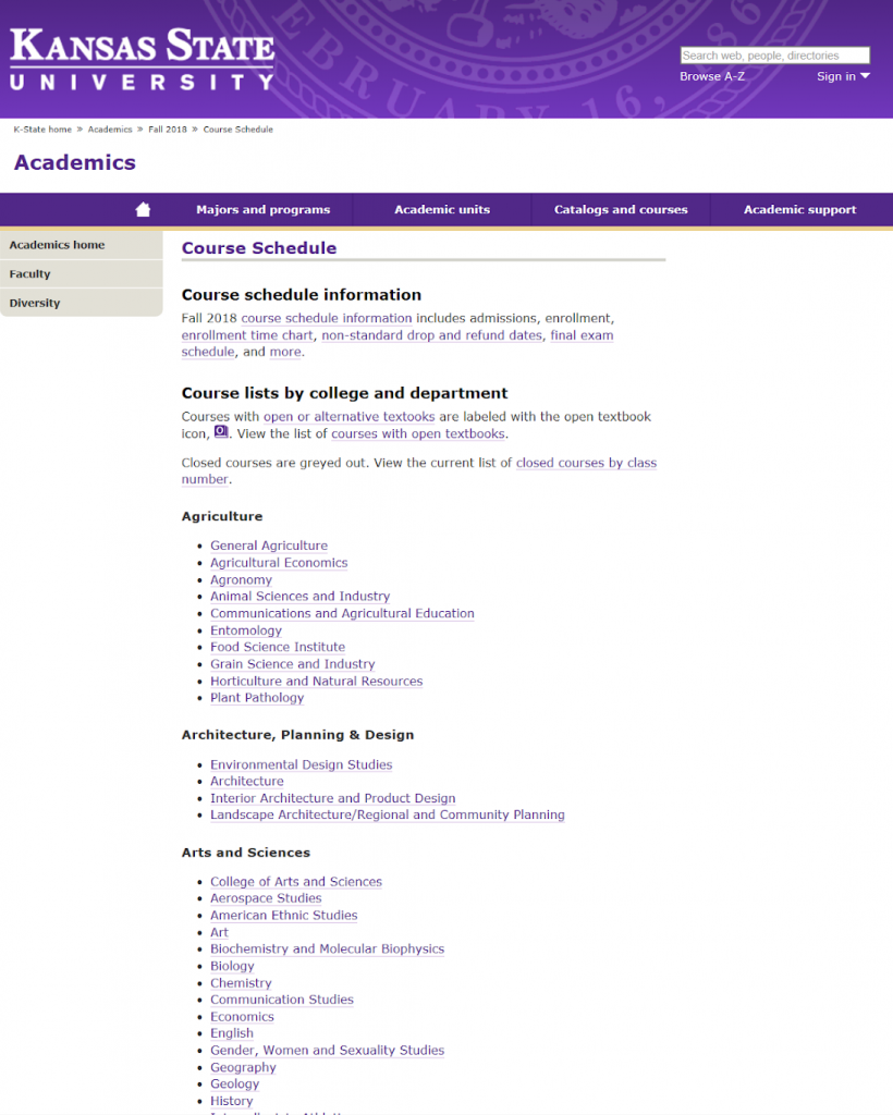 K-State Course Schedule page from Fall 2018 with new icon and open/alternative information and text added in area at top of page as students had requested.