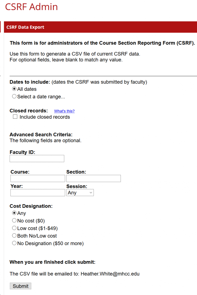 CSRF back-end reporting tool