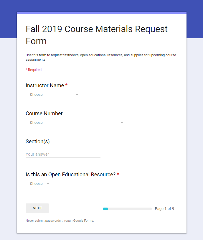A screenshot of FM's course material request form completed by faculty each semester now includes an OER option