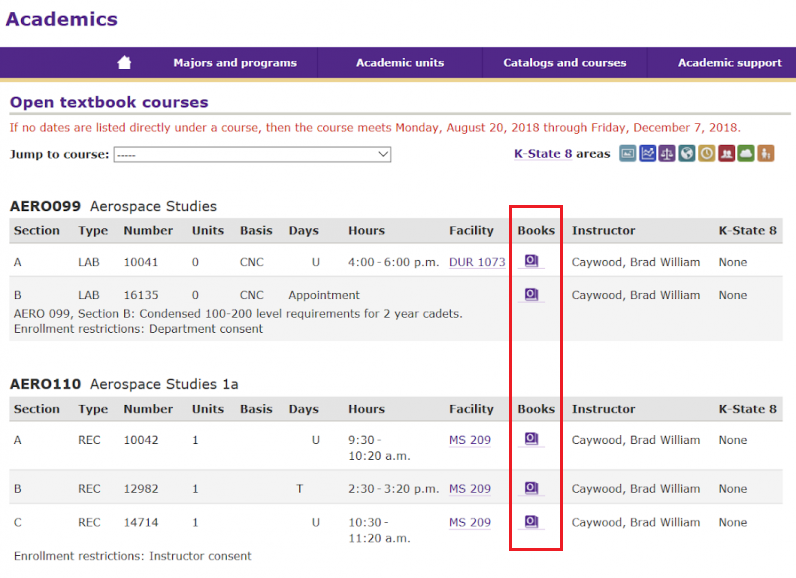 Fall 2018 K-State Course Schedule list of only approved open textbook courses page. New O Purple Textbook Icons under the Books column replacing the traditional textbook icon in the course schedule.