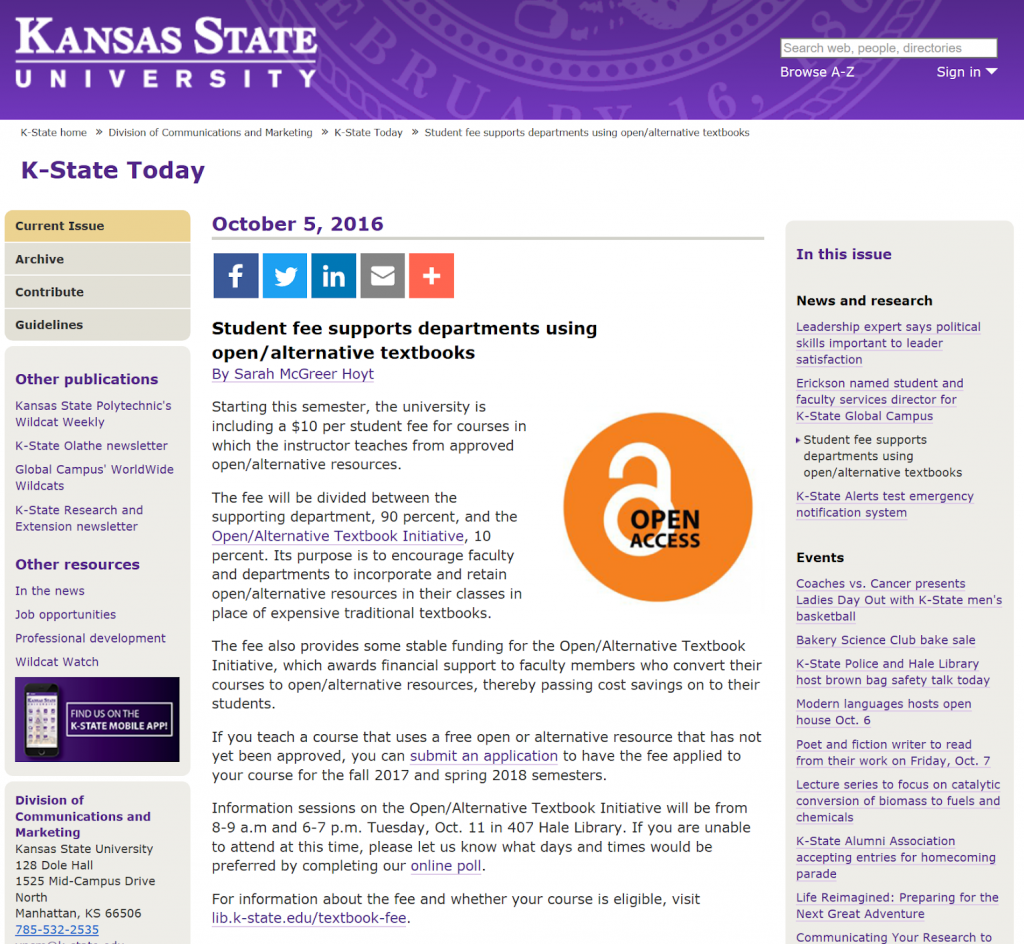 Webpage featuring the K-State Today announcement introducing the fee to the local community.