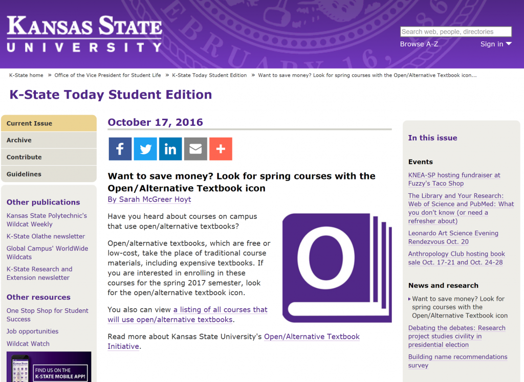 Website featuring the K-State Today Student Edition article introducing the icon and encouraging students to look for these open and alternative courses.