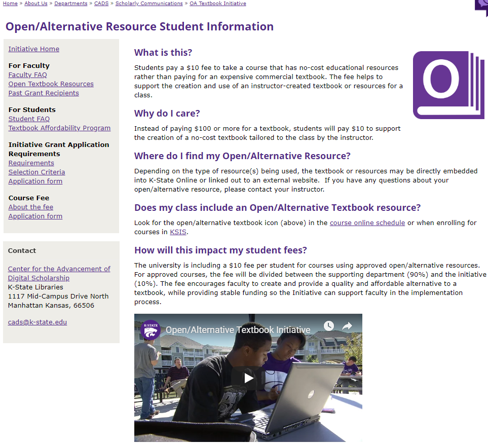 Displays a typical course catalog page for a K-State student. In the Books Column there is an icon display of an open book. Students are able to select this icon to take them directly to the resource purchase page at the bookstore.