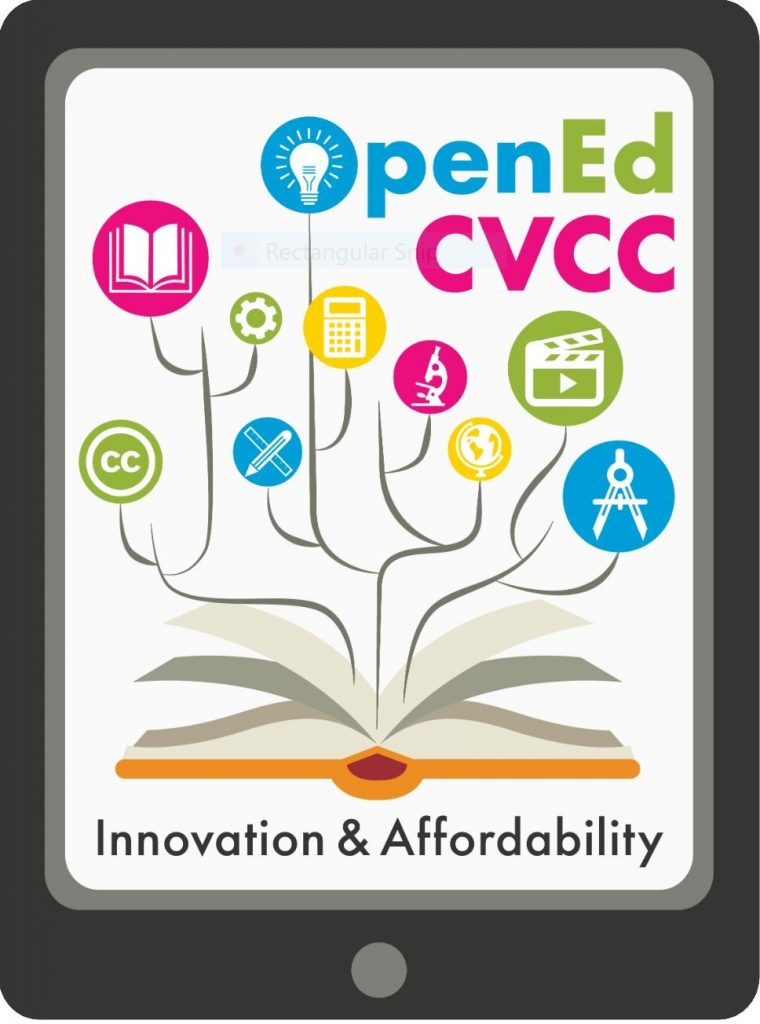 CVCC's newly created logo, which emphasizes innovation and affordability and presents images of learning objects like books, calculators, Creative Commons licenses, pencils.