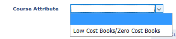 The Course Attributes selection under the search menu. A drop-down menu is activated, presenting one option: Low Cost Books/Zero Cost Books.