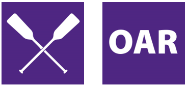 Purple square boxes. One with oars for boat crossed. Second with letters OAR.
