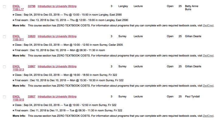 "Screenshot of four Zed Cred section listings that include the note: ""This section has ZERO TEXTBOOK COSTS. For more information about programs that you can complete with zero required textbook costs, visit ZedCred."""
