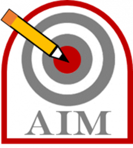 Badge - bullseye with pencil in the middle target. AIM is written beneath target.