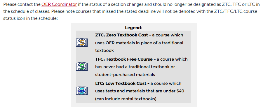 A legend explaining the difference between three course markings: ZTC (zero cost), TFC (textbook-free), and LTC (low cost).