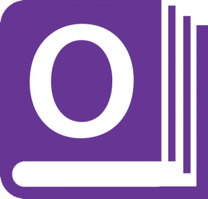 "A purple book icon with an ""O"" on the cover"